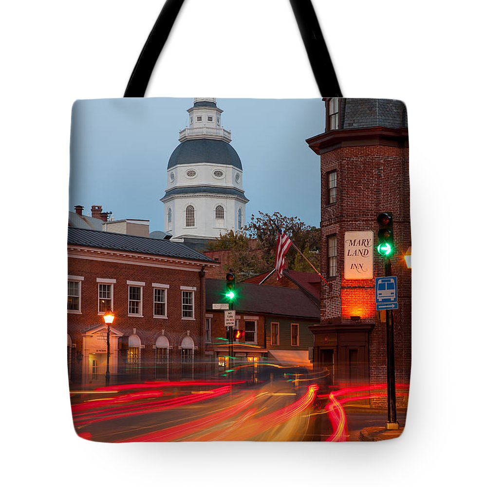 Clarence Holmes Tote Bag featuring the photograph Historic Annapolis And Evening Traffic I by Clarence Holmes