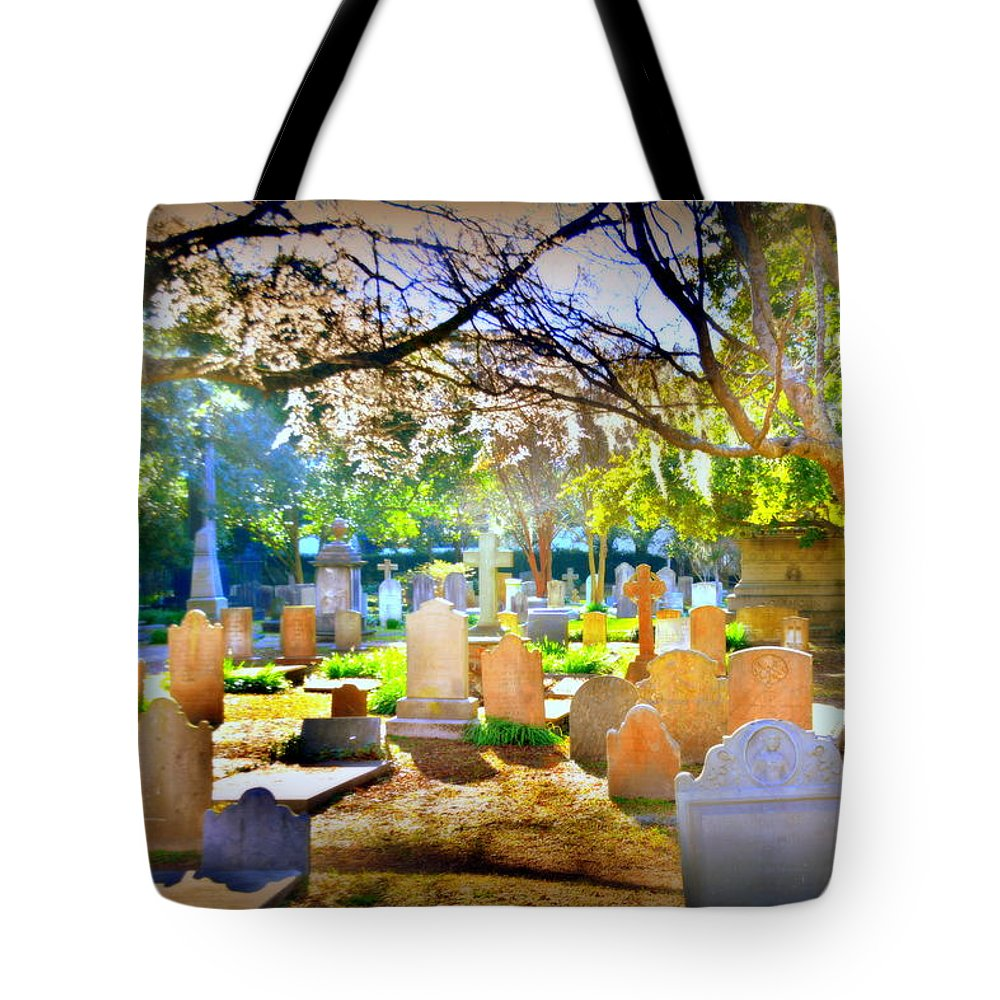 St. Philip's Episcopal Church Cemetery Tote Bag featuring the photograph Historic Cemetery by Lisa Wooten
