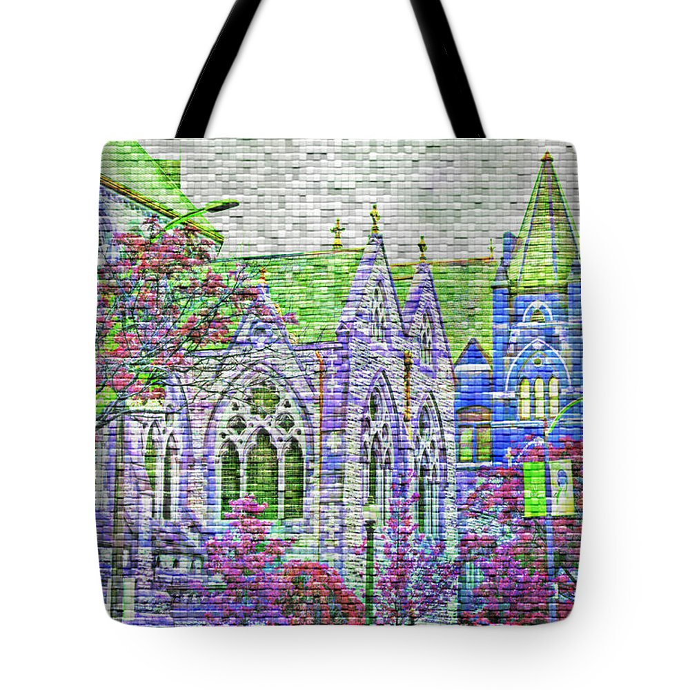 Architecture Tote Bag featuring the photograph Historic Churches St Louis Mo - Digital Effect 4 by Debbie Portwood