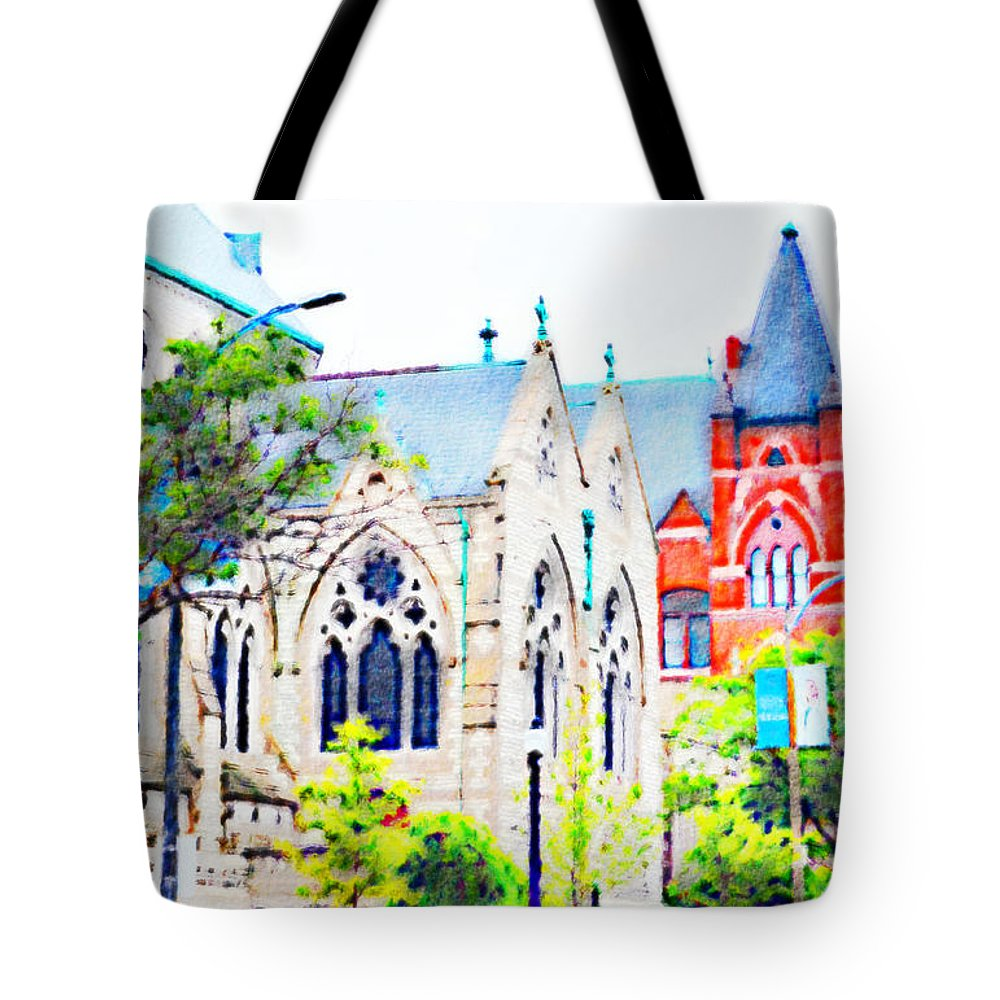 Architecture Tote Bag featuring the photograph Historic Churches St Louis Mo - Digital Effect 7 by Debbie Portwood