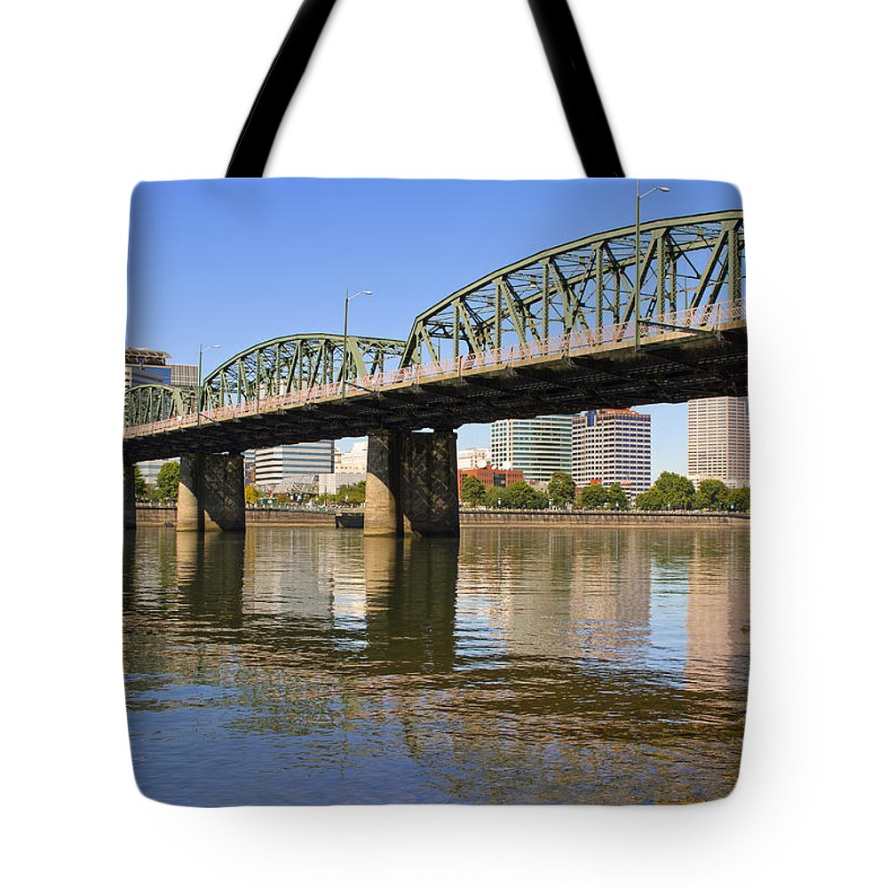 Hawthorne Tote Bag featuring the photograph Historic Hawthorne Bridge by David Gn