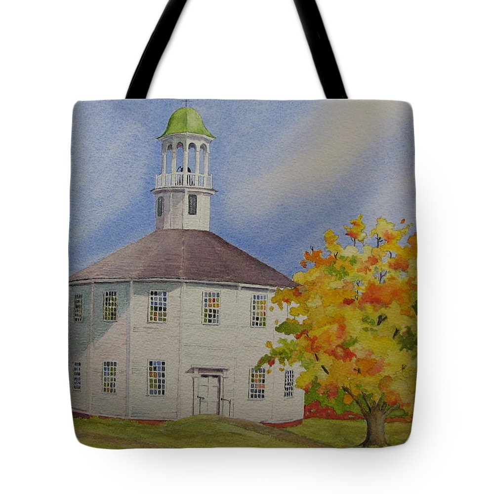 Richmond Tote Bag featuring the painting Historic Richmond Round Church by Mary Ellen Mueller Legault