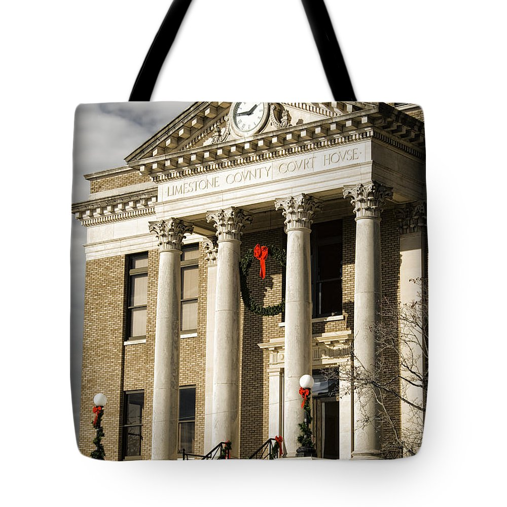 Historical Tote Bag featuring the photograph Historical Athens Alabama Courthouse Christmas by Kathy Clark