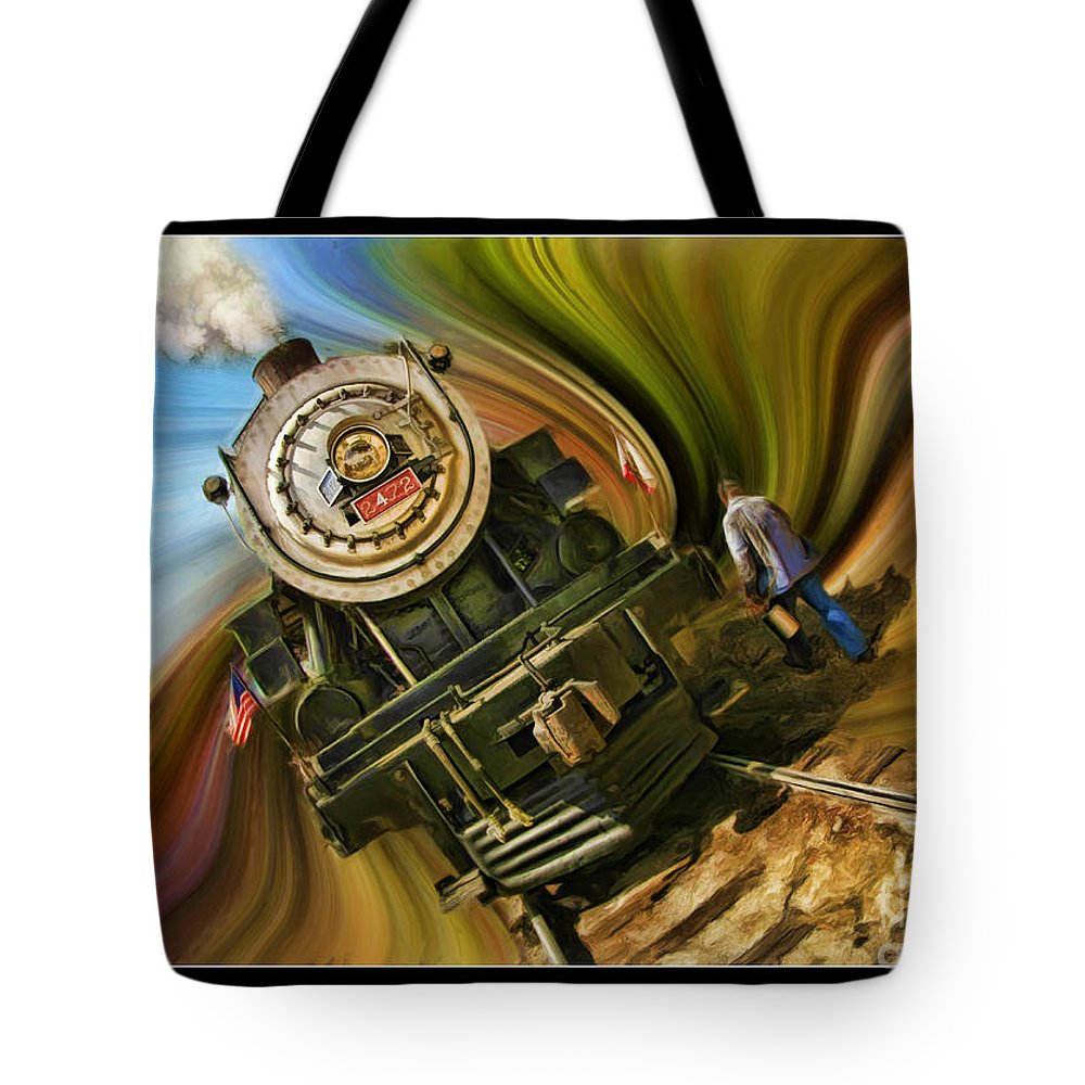 Niles Tote Bag featuring the photograph Historical Niles Southern Pacific 2472 Steam Engine 1921 by Blake Richards