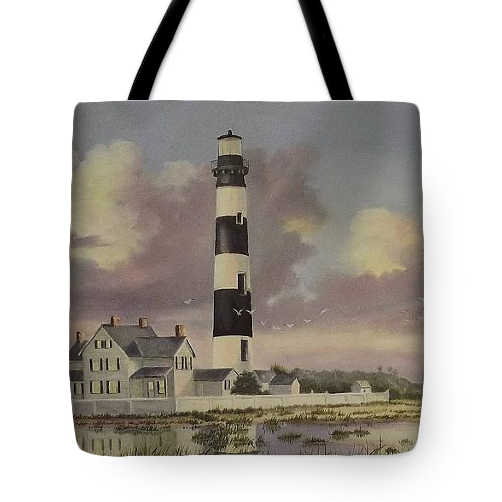 Lighthouse Tote Bag featuring the painting History Of Morris Lighthouse by Wanda Dansereau