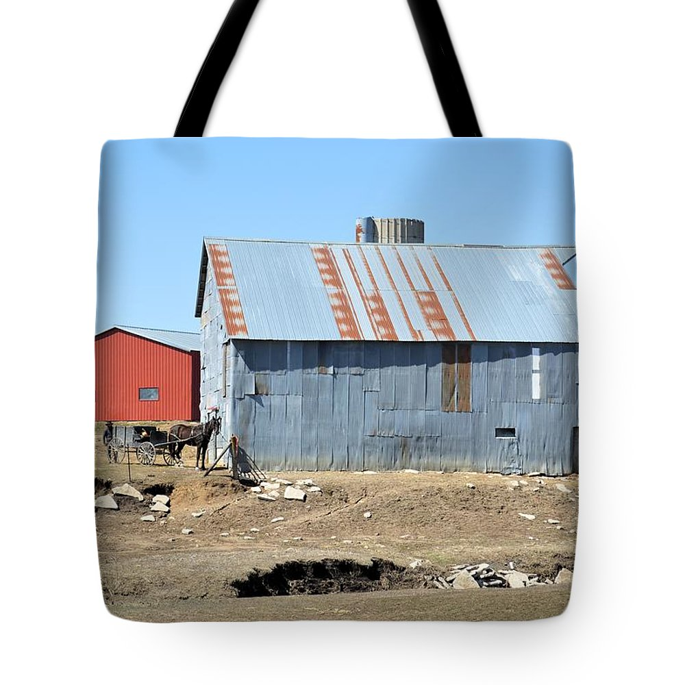 Amish Tote Bag featuring the photograph Hitching The Wagon by Bonfire Photography
