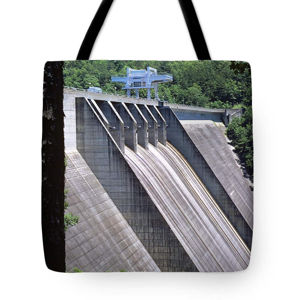 Landscapes Tote Bag featuring the photograph Hiwassee Dam 1 by Deborah Good