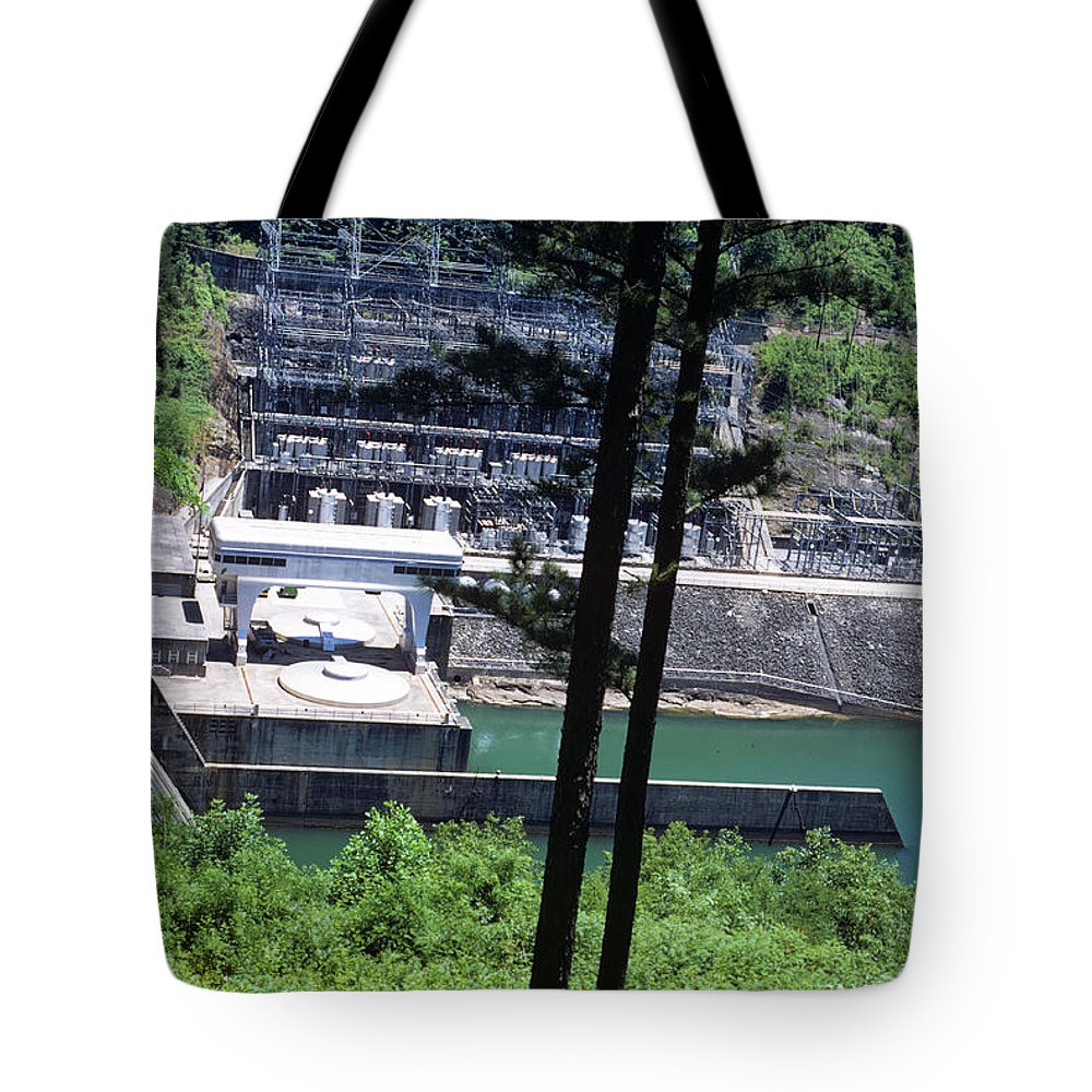 Landscapes Tote Bag featuring the photograph Hiwassee Dam 2 by Deborah Good