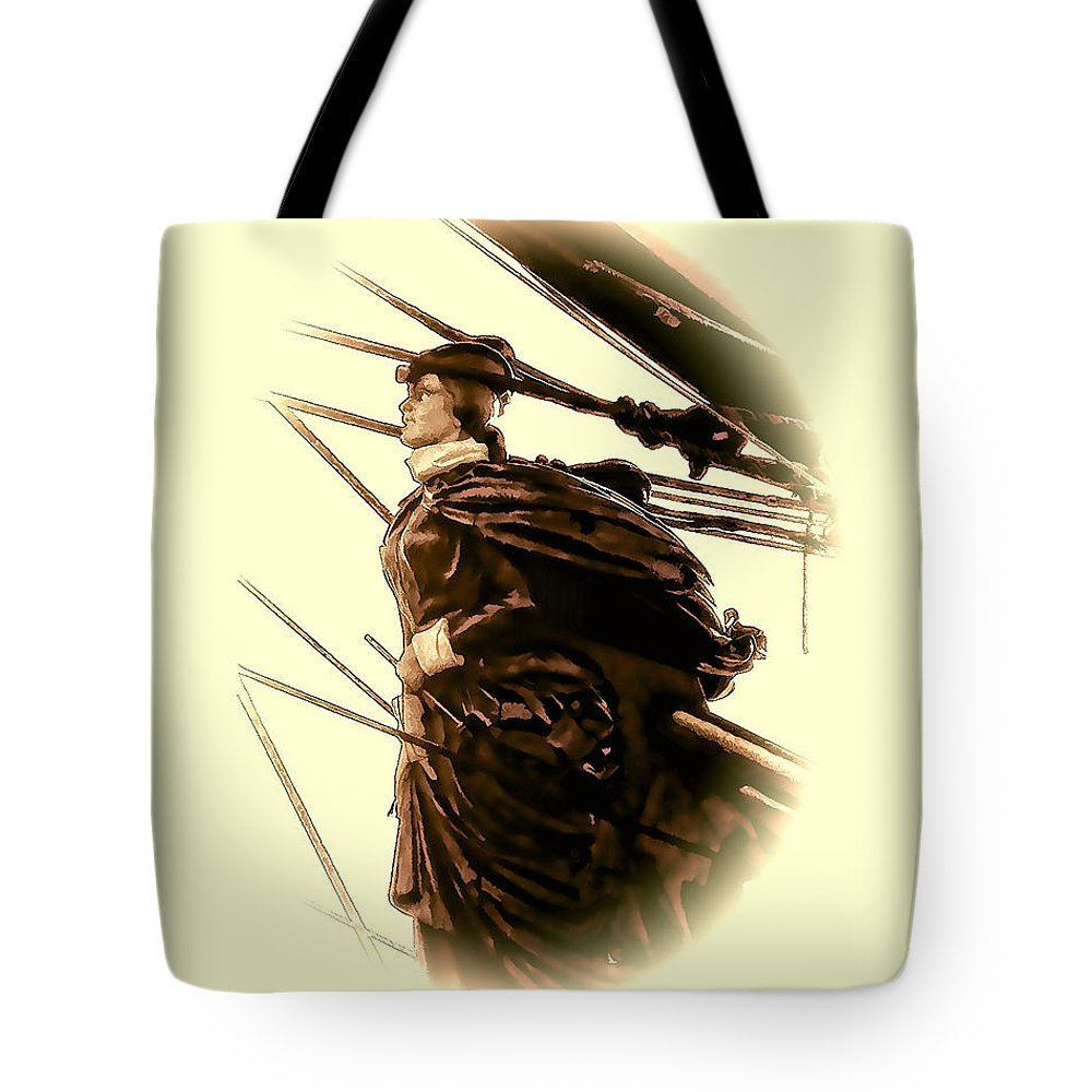 Julia Springer Tote Bag featuring the photograph Hms Bounty - Lost At Sea by Julia Springer