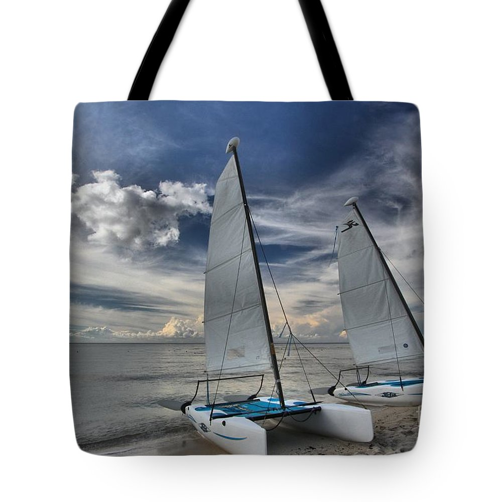 Caribbean Ocean Tote Bag featuring the photograph Hobie Cats On The Caribbean by Adam Jewell