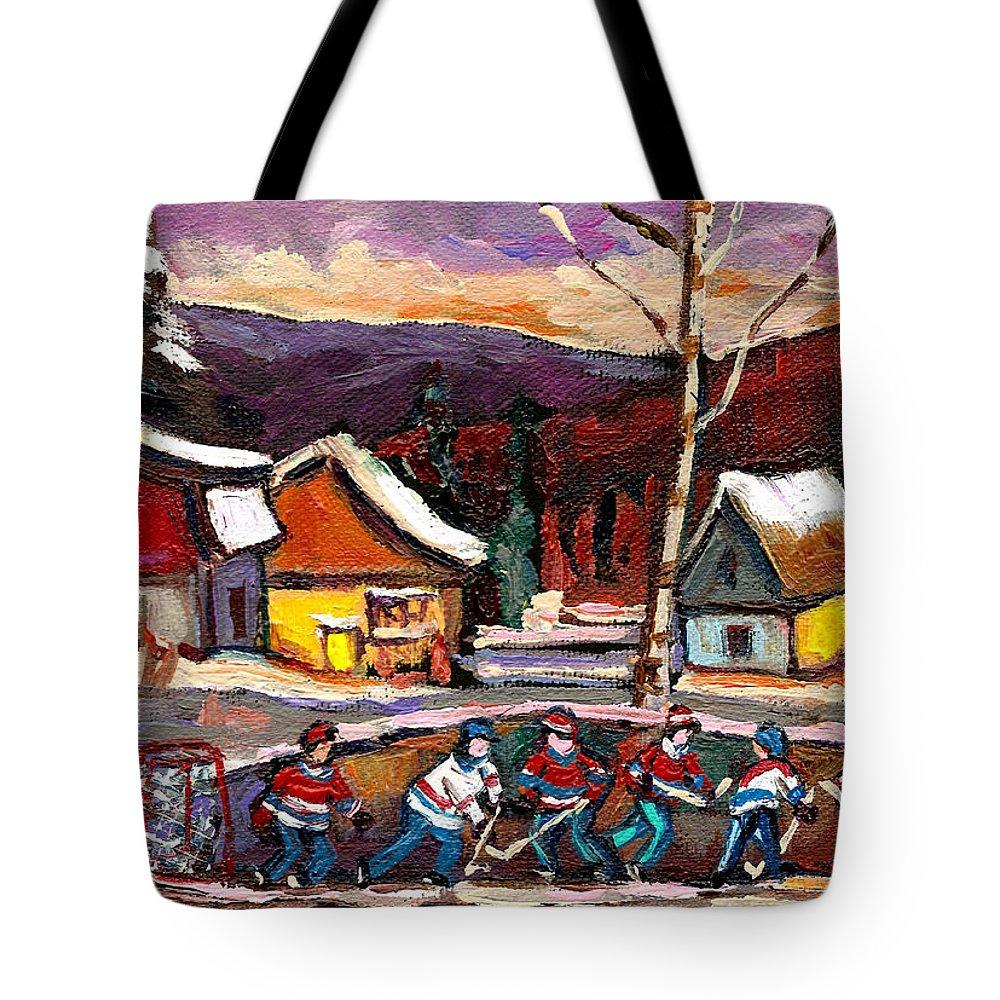 Pond Hockey Tote Bag featuring the painting Hockey 4 by Carole Spandau