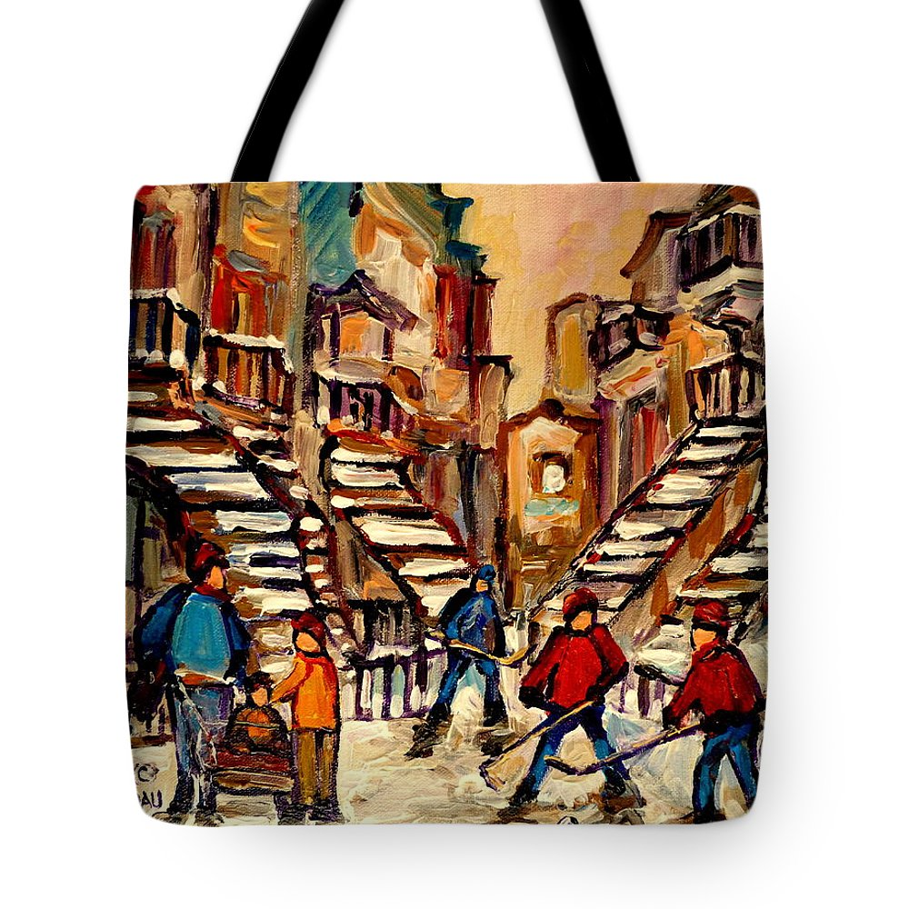 Montreal Tote Bag featuring the painting Hockey Game Near Winding Staircases Montreal Streetscene by Carole Spandau
