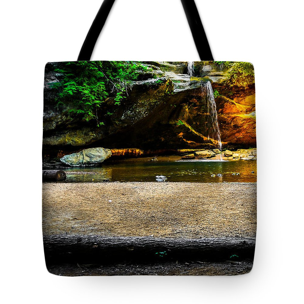 Opticalplaygroundbympray Tote Bag featuring the photograph Hocking Hills Waterfall by Optical Playground By MP Ray