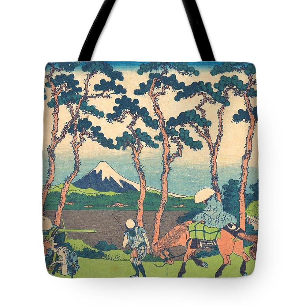 1830-1832 Tote Bag featuring the painting Hodogaya On The Tokaido by Katsushika Hokusai
