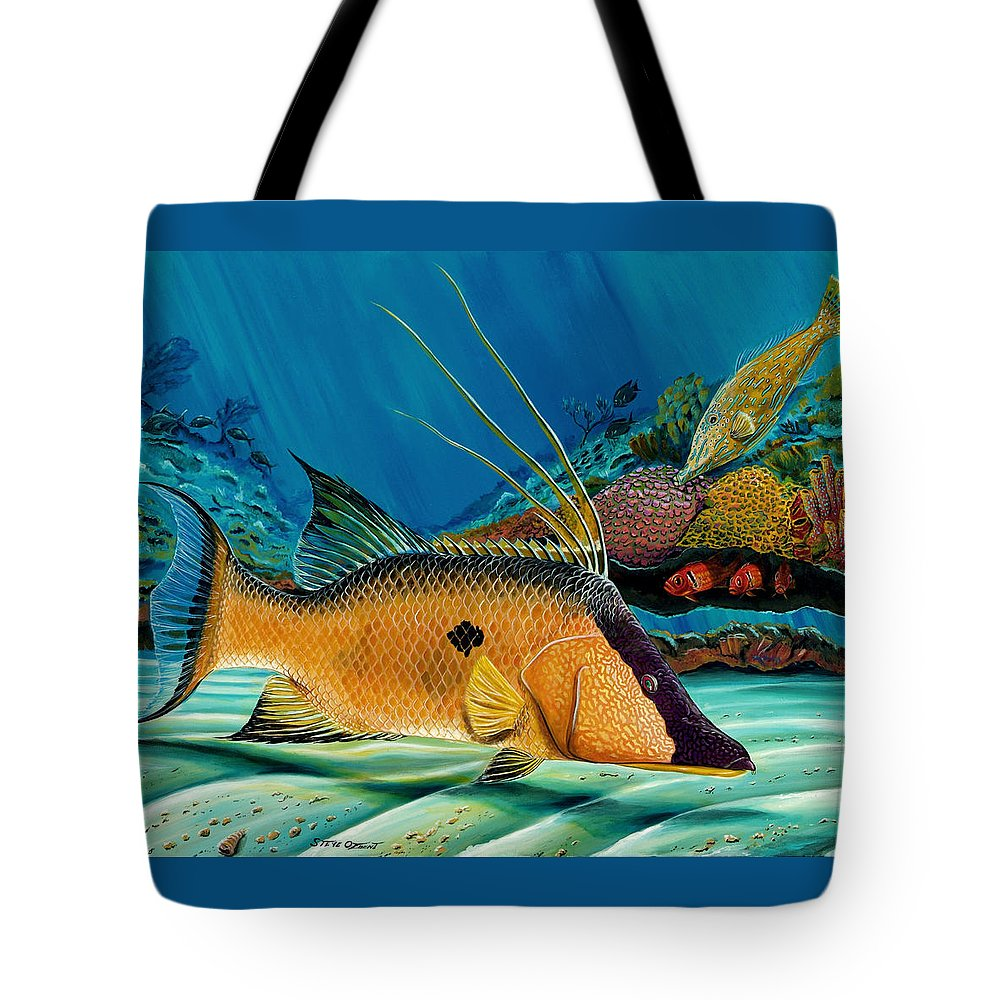 Hogfish Tote Bag featuring the painting Hog And Filefish by Steve Ozment