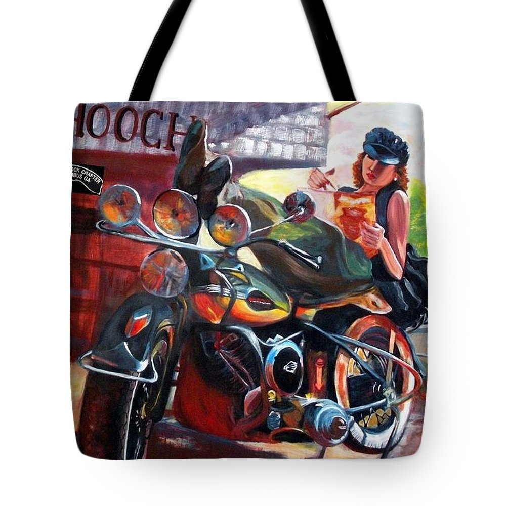 Motorcycle Chapter Tote Bag featuring the painting Painted Rock H.o.g. Chapter #1010 by Linda Taylor-Hurt