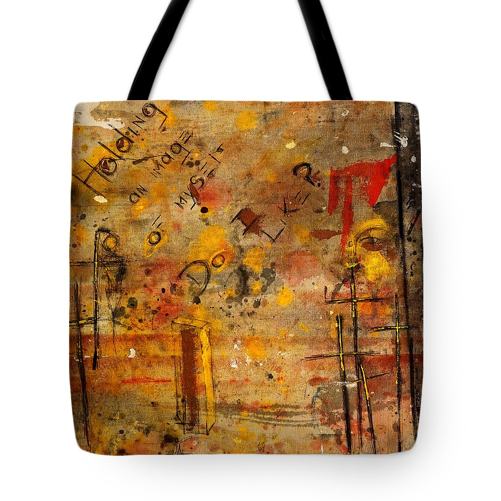 Angel Tote Bag featuring the painting Holding An Image by Giorgio Tuscani