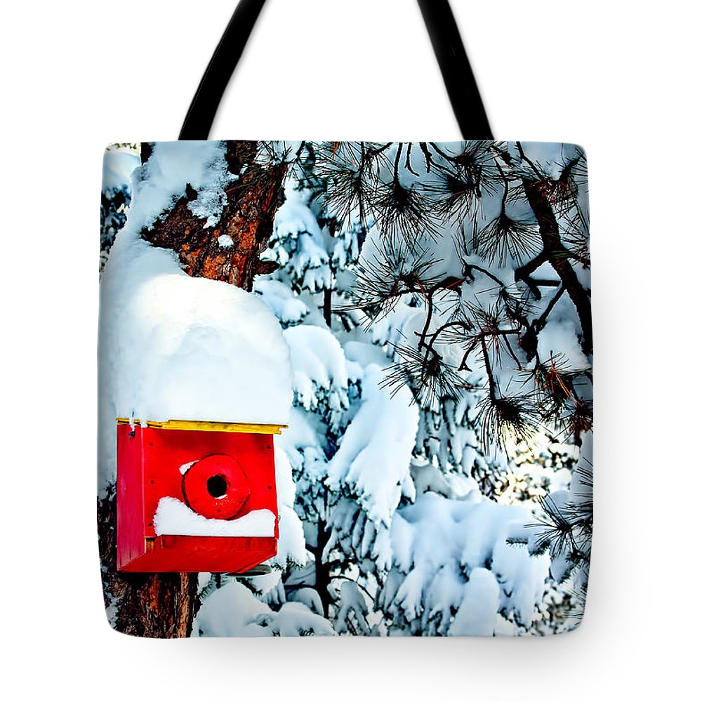 Snow Tote Bag featuring the photograph Holiday Birdhouse by Teri Virbickis
