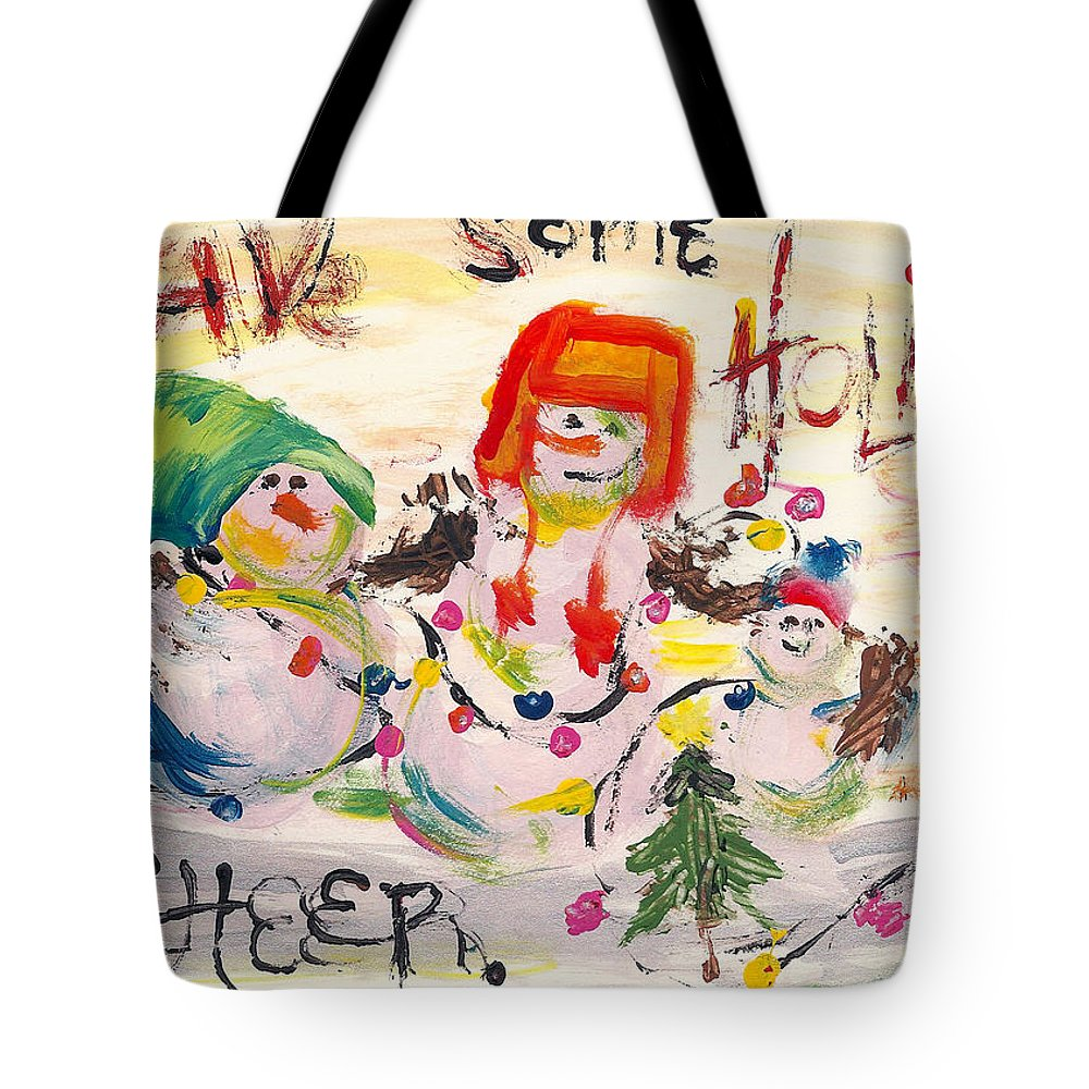 Snowman Tote Bag featuring the painting Holiday Cheer by Molly Picklesimer
