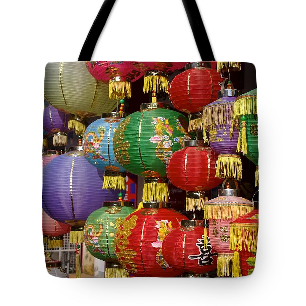 Lantern Tote Bag featuring the photograph Chinese Holiday Lanterns by Ian Mcadie