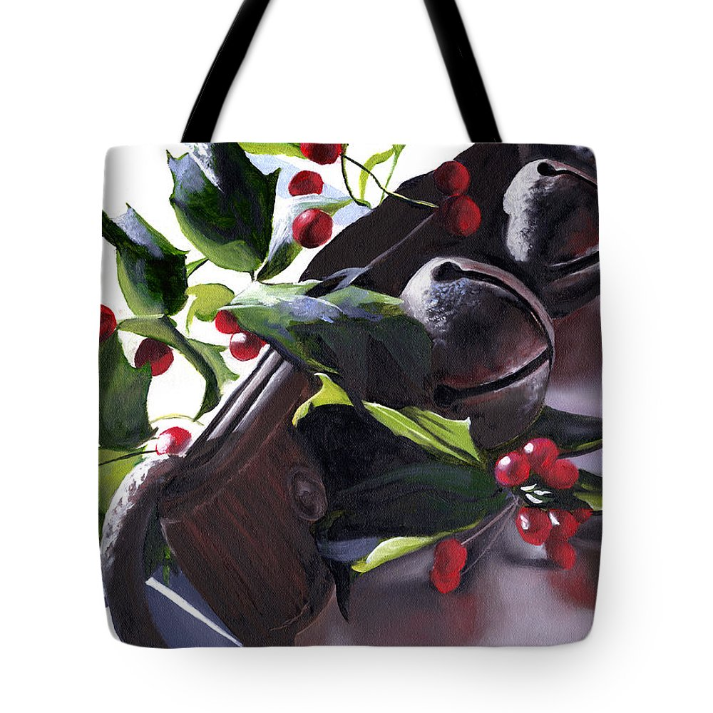 Holly Tote Bag featuring the painting Holly And Bells by Christopher Lyter