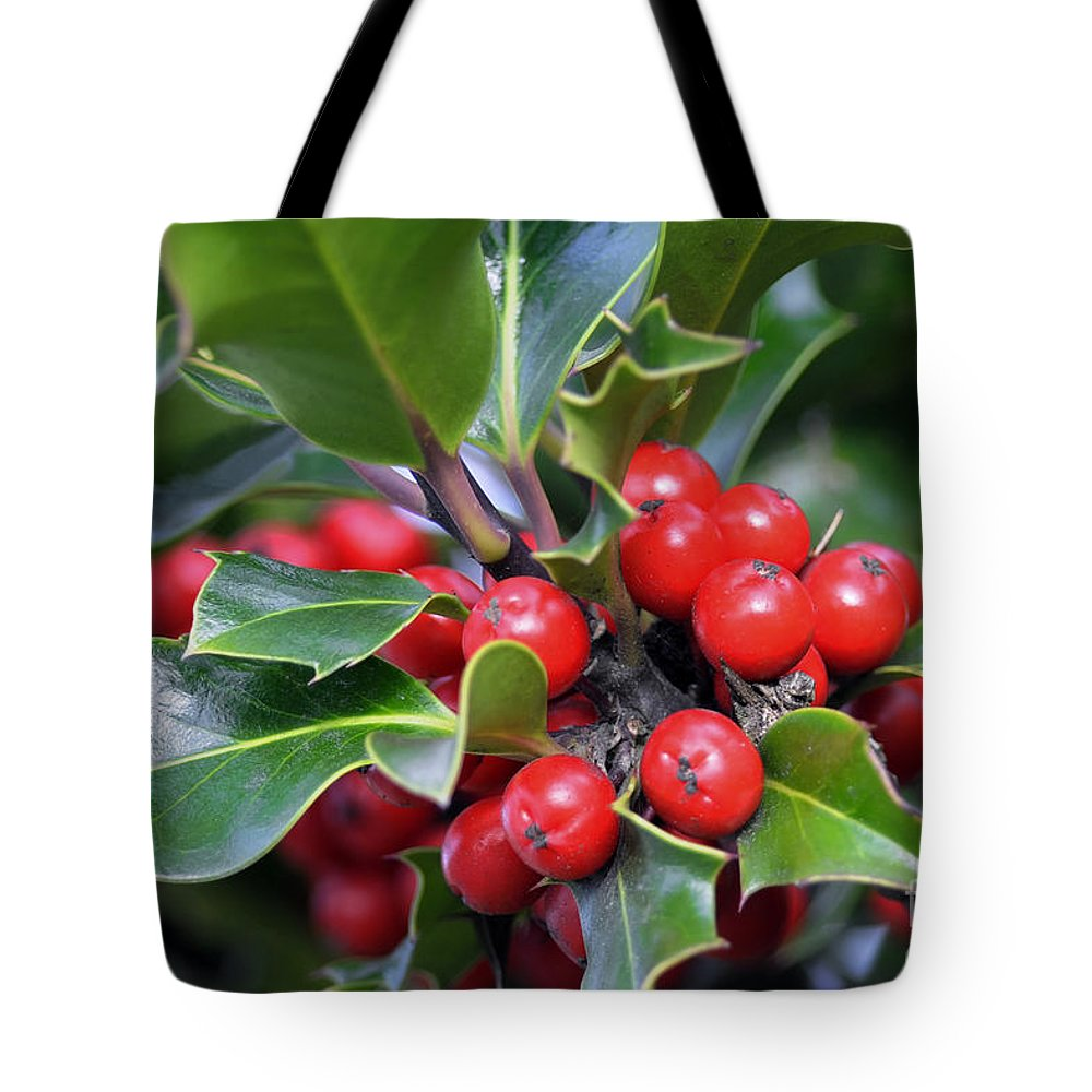 Holly Berries Tote Bag featuring the photograph Holly Berries 2 by Sharon Talson
