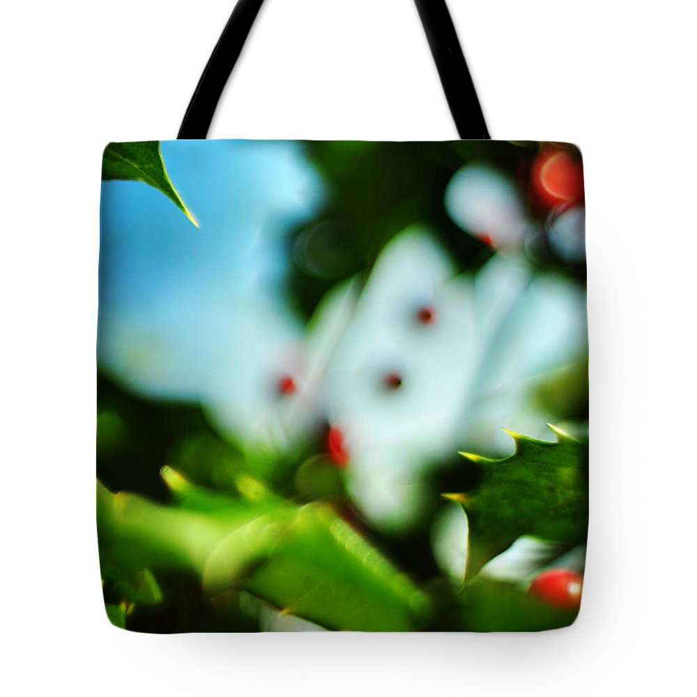 Holiday Tote Bag featuring the photograph Holly Daze by Rebecca Sherman