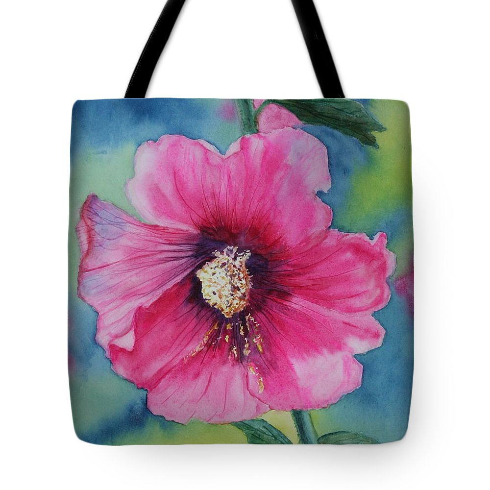 Watercolour Tote Bag featuring the painting Hollyhock by Mary Pumpelly-Knowland