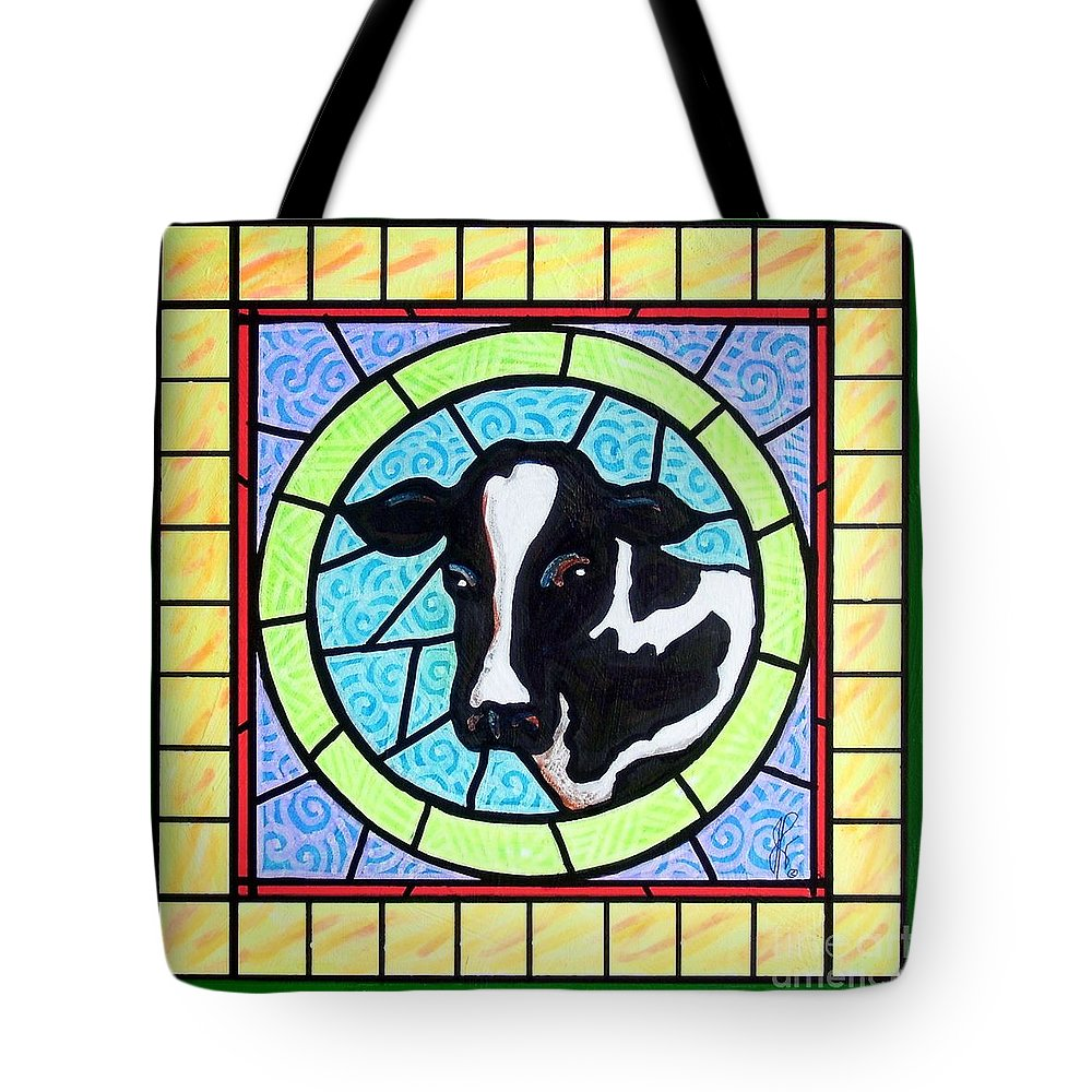 Cattle Tote Bag featuring the painting Holstein 4 by Jim Harris