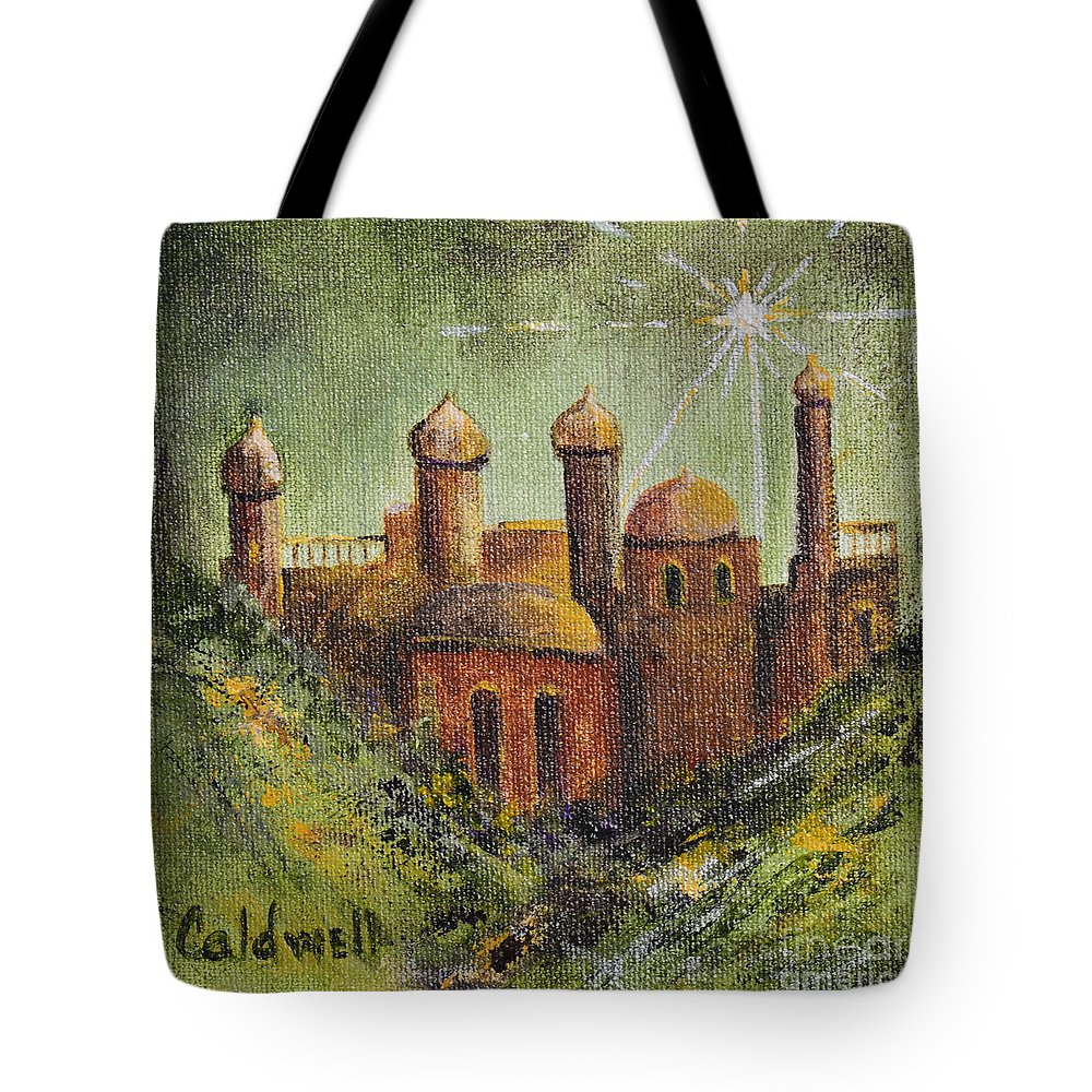 Holy City Bethlehem Ancient City Jordan Birthplace Of Jesus Green Gold Shining Star Bright Star Of East Yellow Temple Jerusalem Tote Bag featuring the painting Holy City by Patricia Caldwell