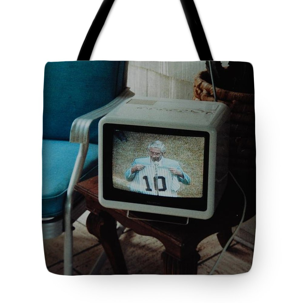 New York Yankees Tote Bag featuring the photograph Holy Cow Phil Rizzuto Retired Yankee Number On 08 04 1985 by Rob Hans