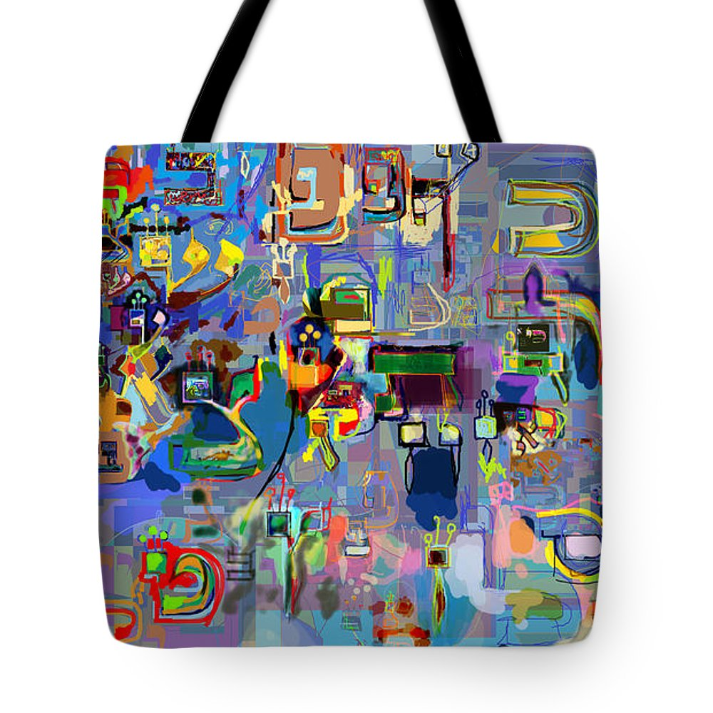 Torah Tote Bag featuring the digital art Holy Letters 1x by David Baruch Wolk
