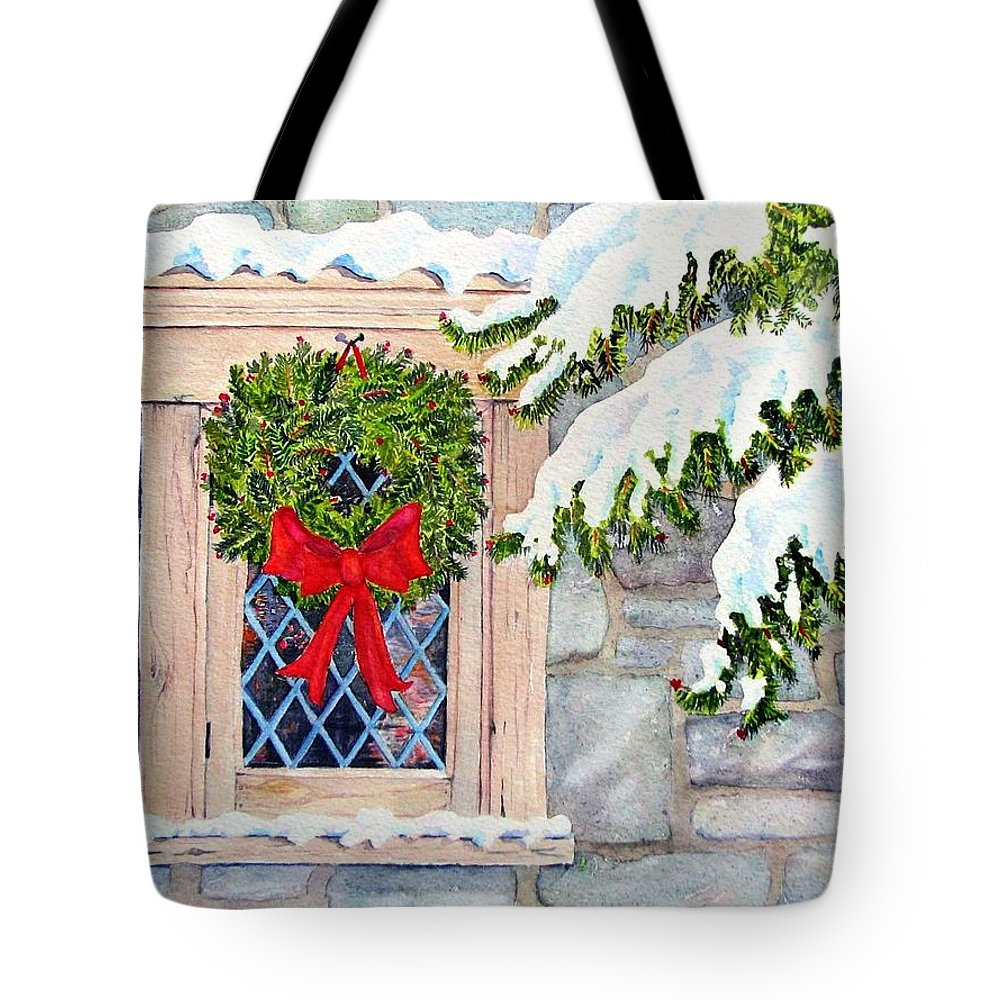 Holidays Tote Bag featuring the painting Home For The Holidays by Mary Ellen Mueller Legault