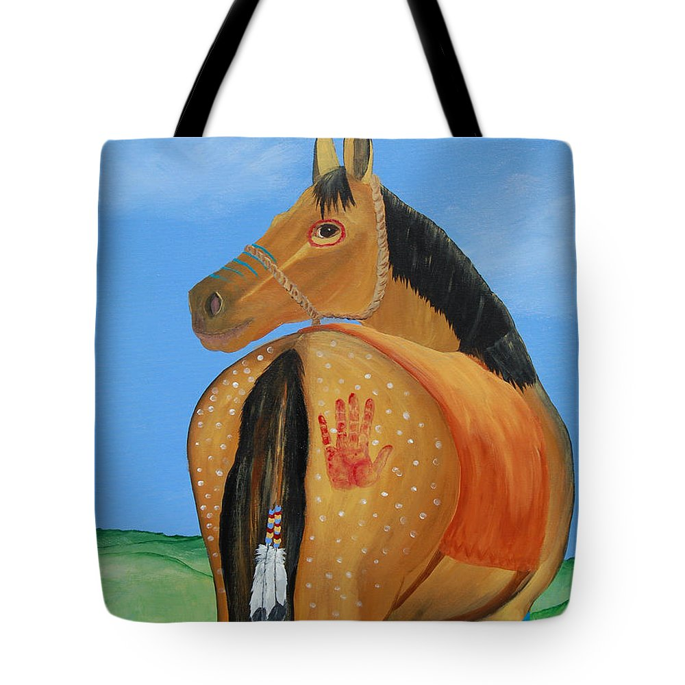 Painted Pony Tote Bag featuring the painting Home Safe by Annie Stevens