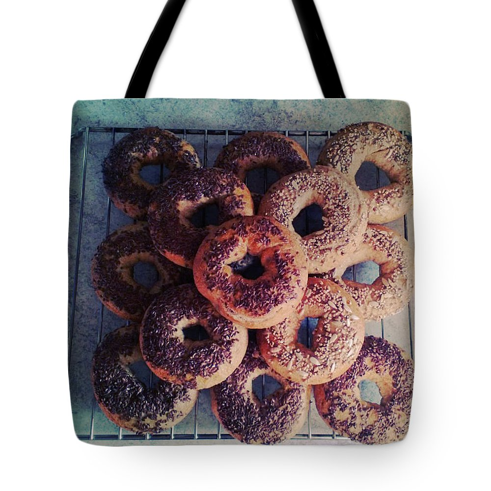 Flax Seed Tote Bag featuring the photograph Homemade Bagels by Lasse Kristensen