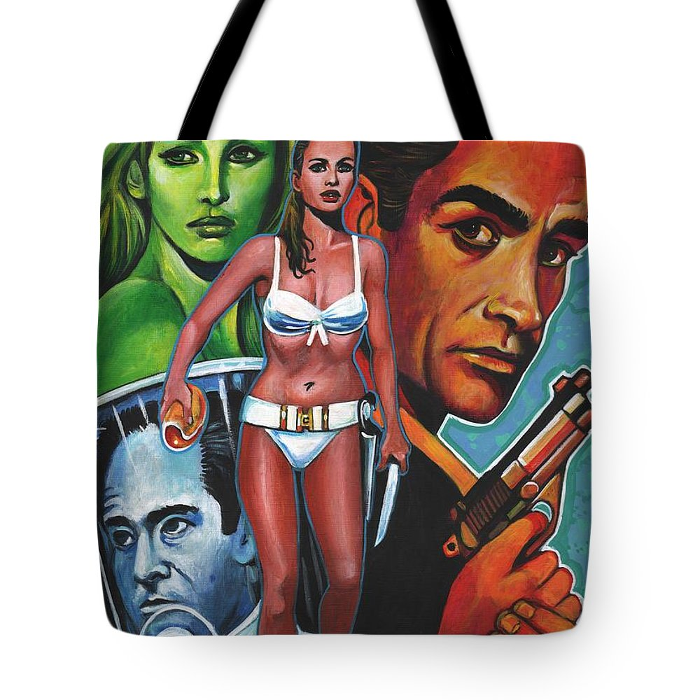 Alternate Movie Poster Tote Bag featuring the painting Honey Ryder-dr.no by Larry Nadolsky