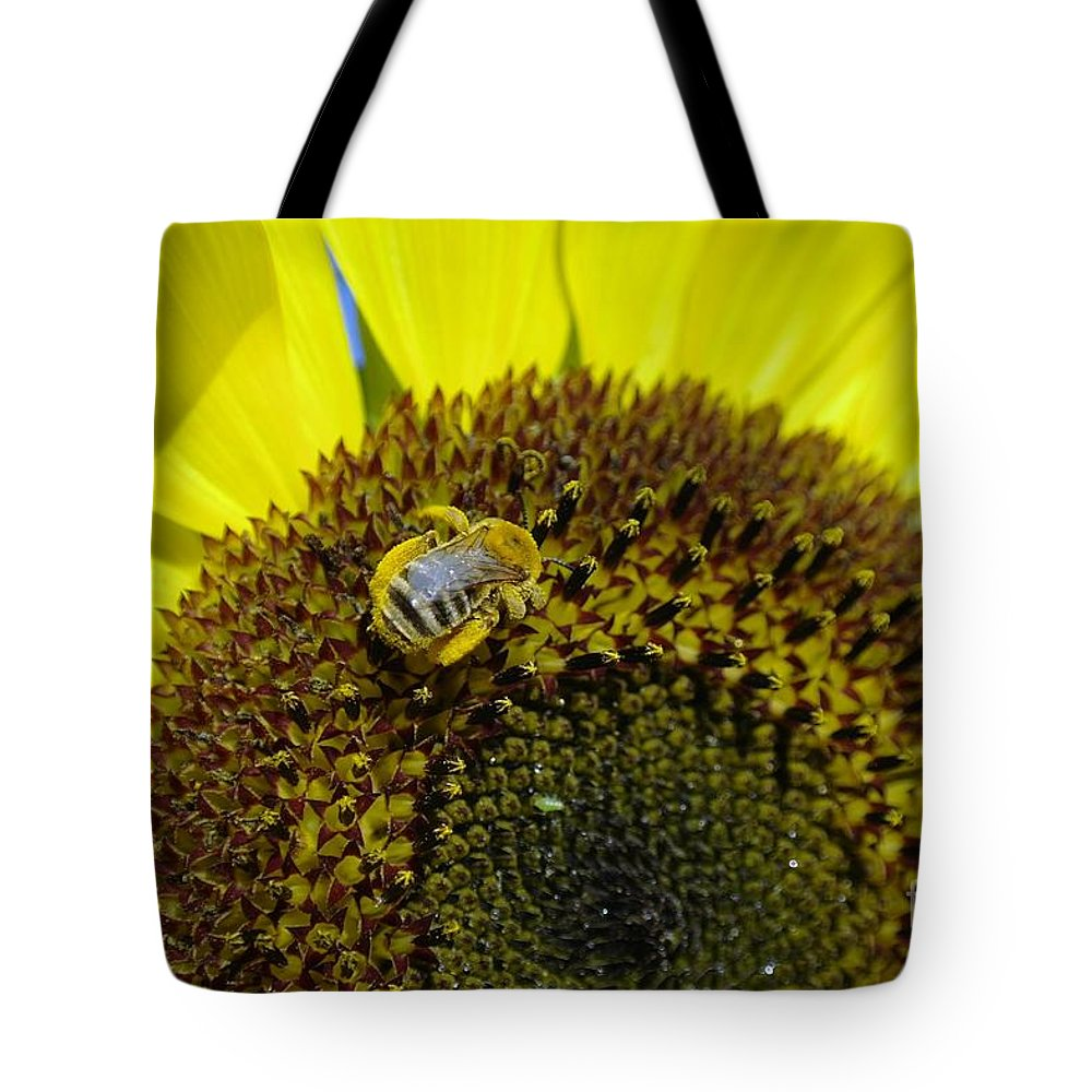 Bees Tote Bag featuring the photograph Honeybee In A Sunflower by Jeff Swan