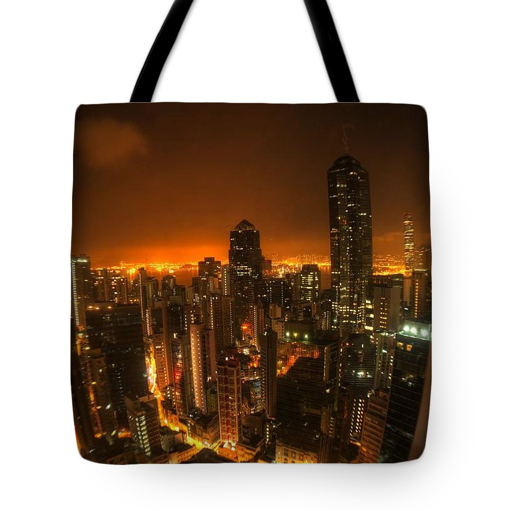 The Centrium Tote Bag featuring the photograph Hong Kong Gotham by Peter Thoeny