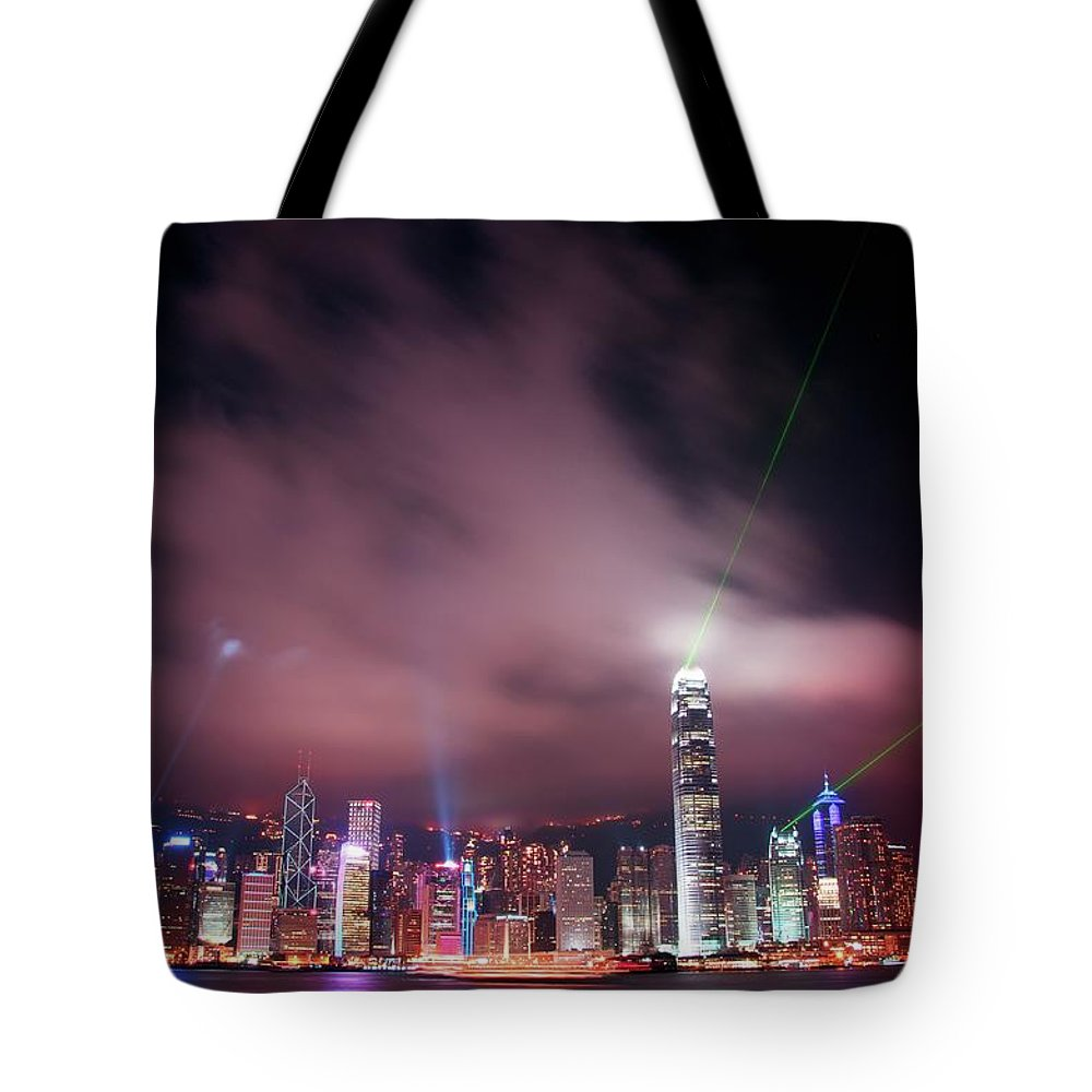 Tranquility Tote Bag featuring the photograph Hong Kong Laser Lights by Photo By Dan Goldberger