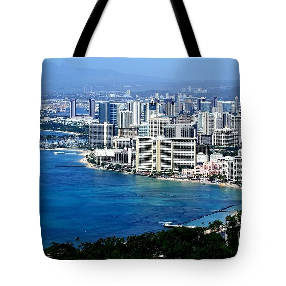 Honolulu Tote Bag featuring the photograph Honolulu And Waikiki From Diamond Head by Mary Deal