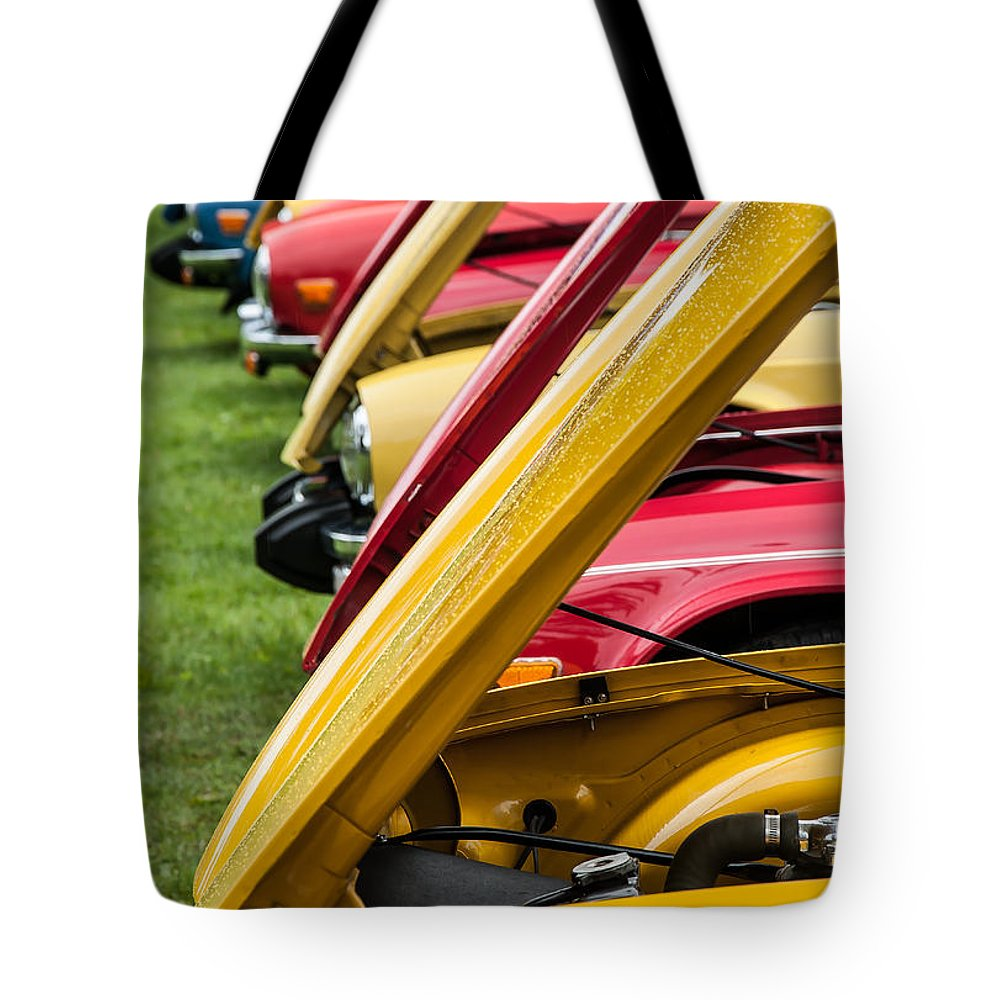 British Cars Tote Bag featuring the photograph Hoods Up by Sabine Edrissi