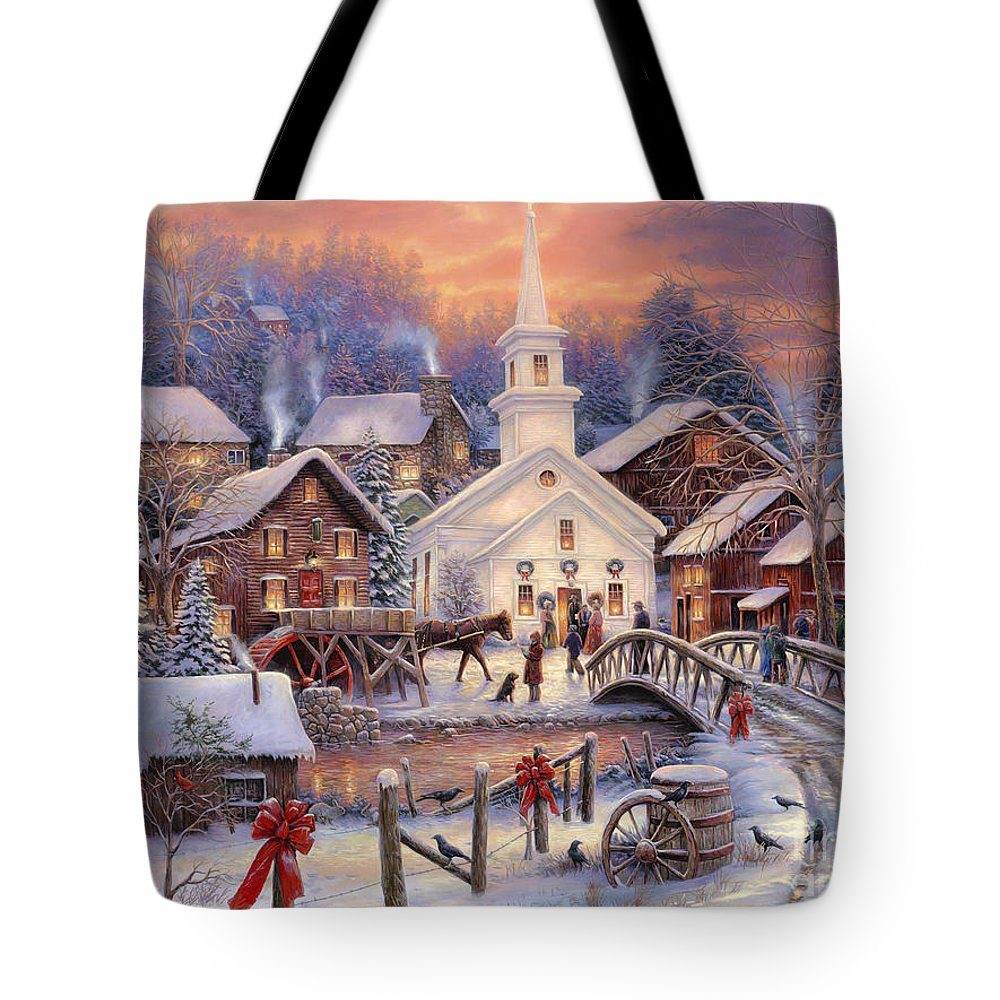 Snow Village Tote Bag featuring the painting Hope Runs Deep by Chuck Pinson