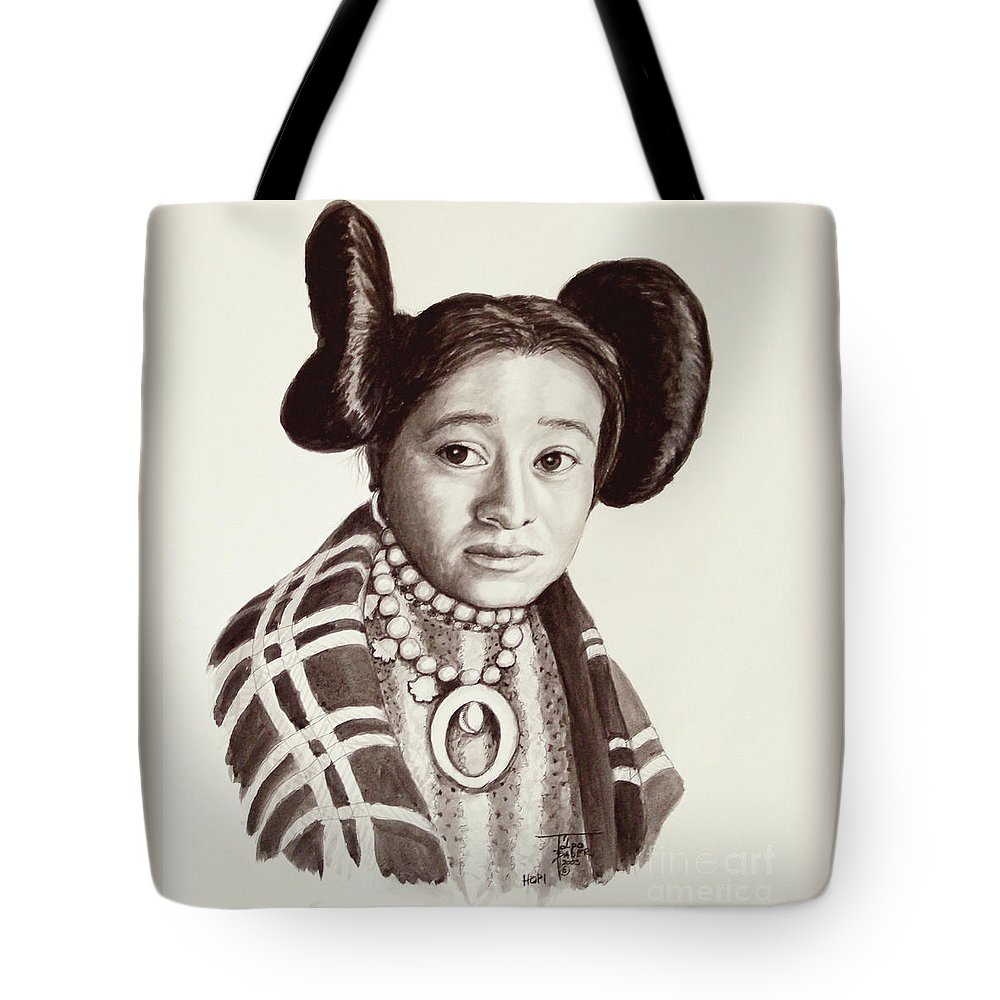 Hopi Tote Bag featuring the painting Hope Woman by Art By - Ti  Tolpo Bader