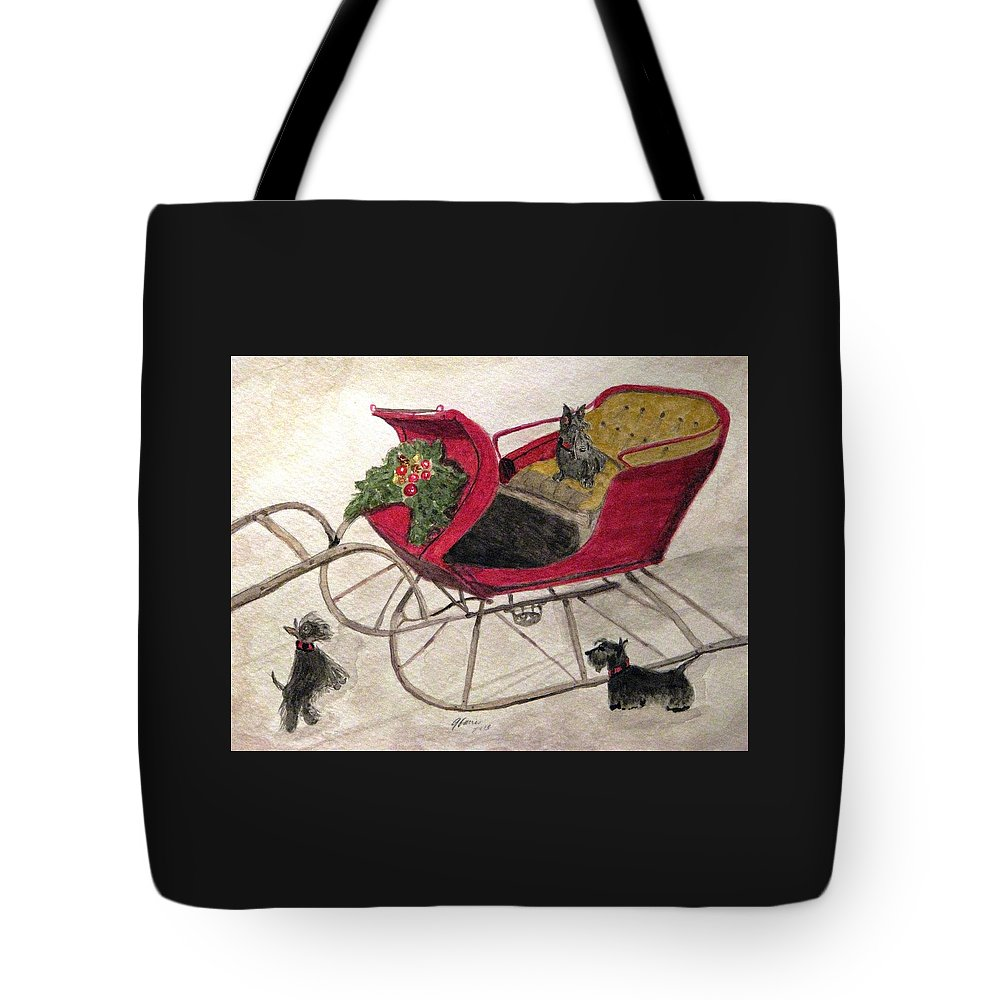 Scotties Tote Bag featuring the painting Hoping For A Sleigh Ride by Angela Davies