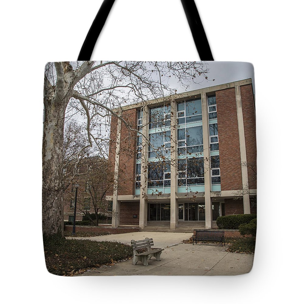 Ohio State University Tote Bag featuring the photograph Hopkins Hall And Tree Osu by John McGraw