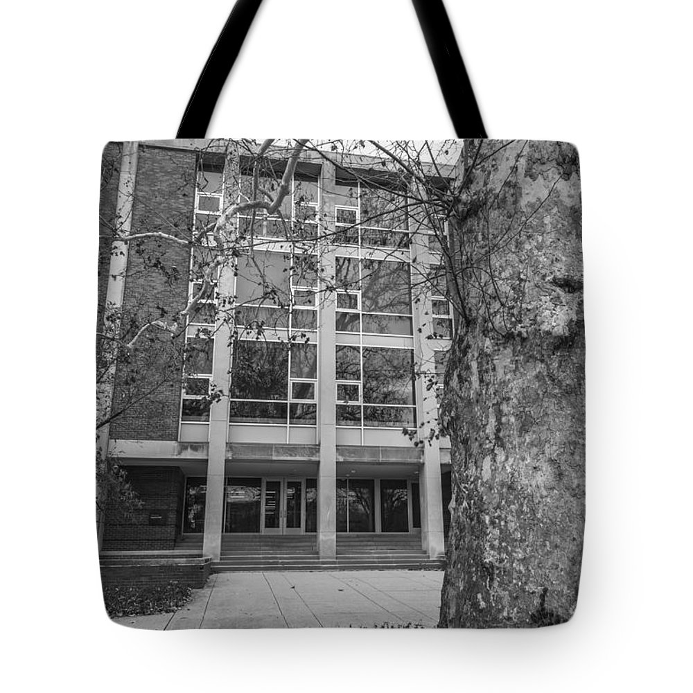 Ohio State University Tote Bag featuring the photograph Hopkins Hall Black And White by John McGraw