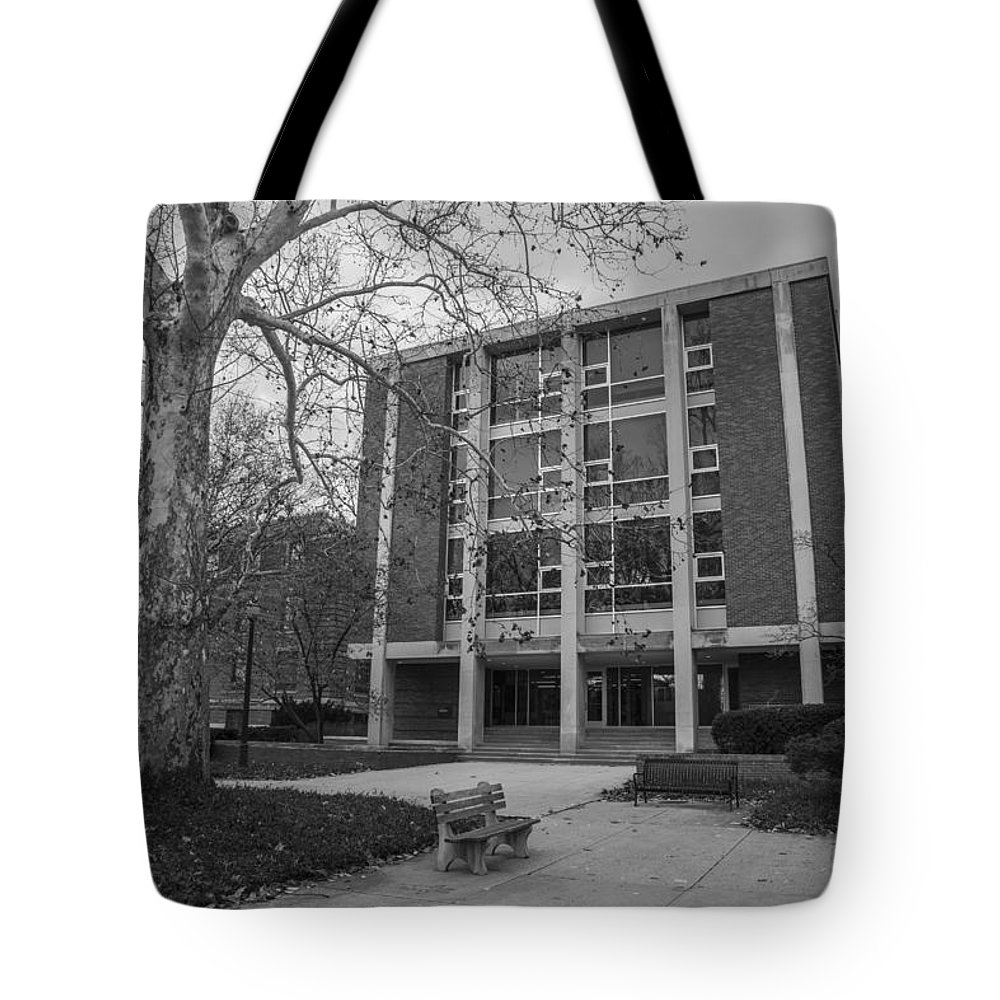 Ohio State University Tote Bag featuring the photograph Hopkins Hall Osu Black And White by John McGraw