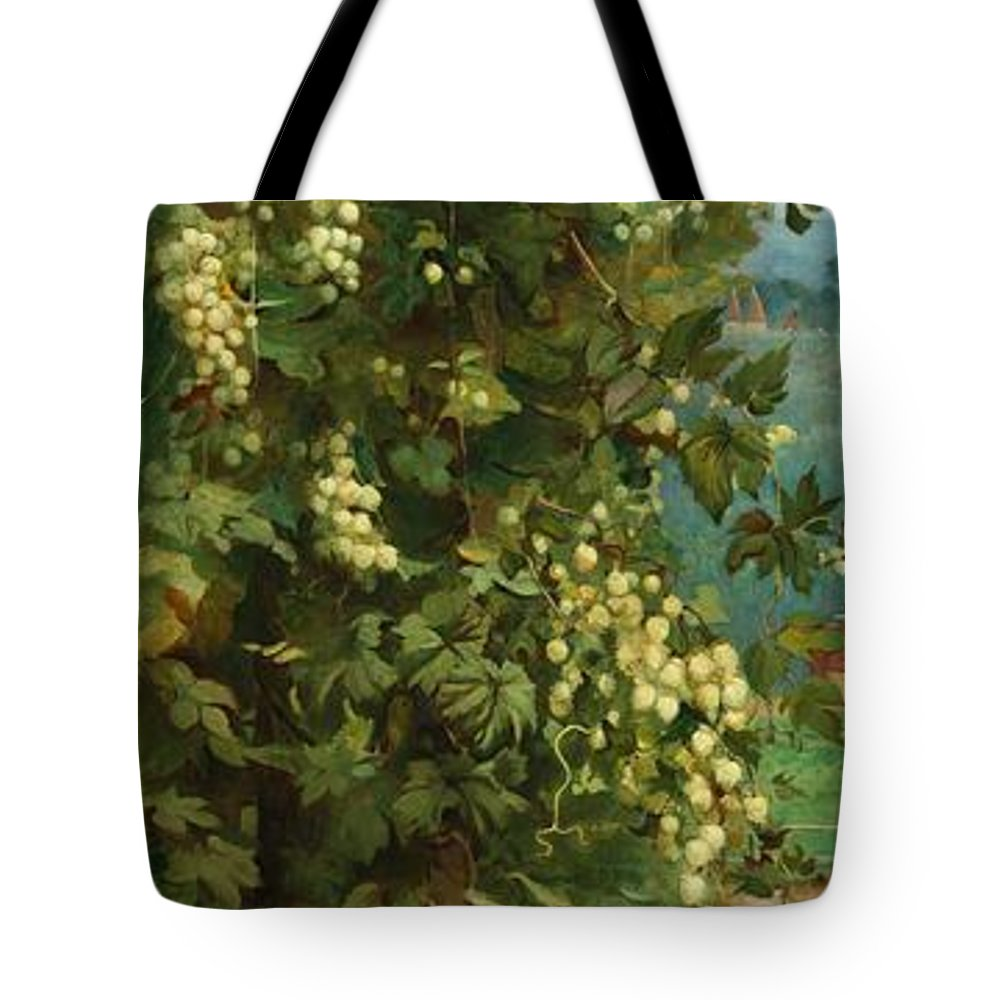 Hop; Hops; Crop; Crops; Flower; Flowers; Plant; Vine; Vines; Beer; Rural; Countryside Tote Bag featuring the painting Hops 1882 by Philip Hermogenes Calderon