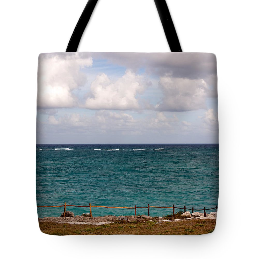 Beach Tote Bag featuring the photograph Horizon At Tulum by Jannis Werner