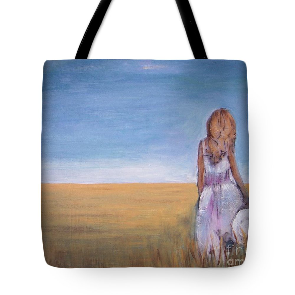 Wheat Field Tote Bag featuring the painting Girl In Wheat Field by Vesna Antic